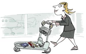 illustration woman pushing luggage trolley with toothbrush