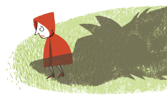 illustration Red Riding Hood and wolf