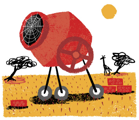 illustration empty cement mixer in African landscape