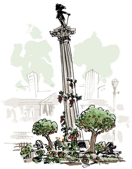 Nelson's column with garden