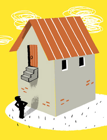Illustration of a man standing in front of a house whose entrance is so high he cannot reach it - humorous line drawing by Michel Streich