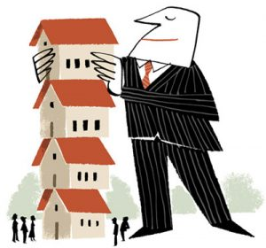 Illustration of a businessman stacking small houses into a tower - humorous line drawing by Michel Streich
