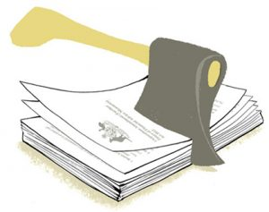 Illustration of an axe chapping into a stack of documents - humorous line drawing by Michel Streich