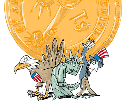 Illustration of Uncle Sam, Lady Liberty and a giant eagle grumpily carrying a dollar coin - humorous line drawing by Michel Streich