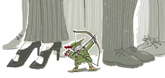 Illustration of a tiny Robin Hood threatening very large people in business suits with his bow and arrow - humorous line drawing by Michel Streich