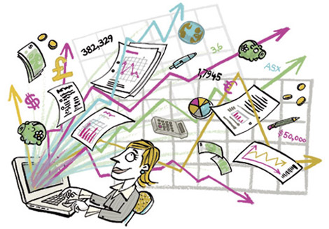 Illustration of money, graphs, charts and documents jumping out of a laptop in front of a woamn in a business suit - humorous line drawing by Michel Streich