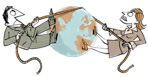 Illustration of a couple in business suits on two sides of the world globe, engaged in a tug-of-war - humorous line drawing by Michel Streich