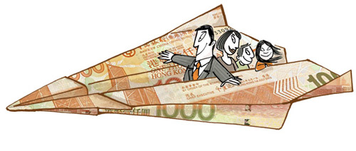Illustration of a family flying in a paperplane folded out of bank notes - humorous line drawing by Michel Streich
