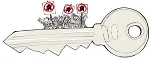 Illustration of angry people with signs on top of a giant house key - humorous line drawing by Michel Streich