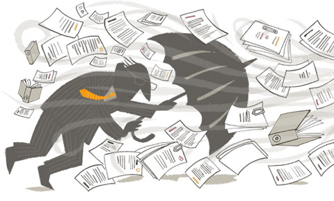 Illustration of a man with an umbrella, struggling in a storm of paperwork - humorous line drawing by Michel Streich
