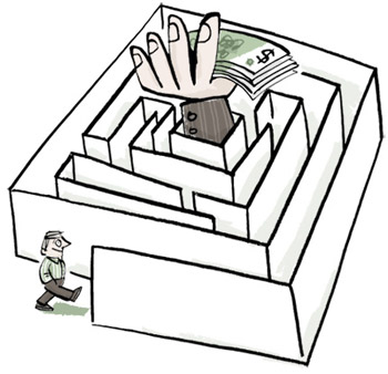 Illustration of a man entering a maze with a stack of cash on the inside - humorous line drawing by Michel Streich