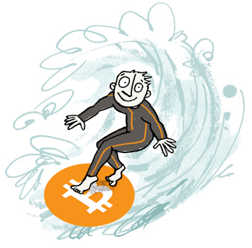 Illustration of a surfer with the Bitcoin logo as a surfboard, riding a wild wave - humorous line drawing by Michel Streich