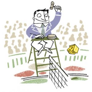 Illustration tennis referee at match with the tennis ball in the shape of a house - humorous line drawing by Michel Streich