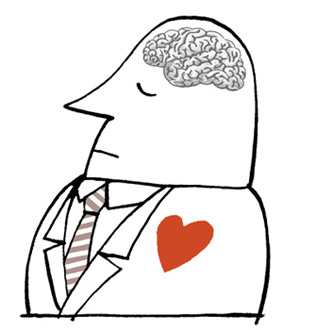 Illustration businessman with brain and heart visible - humorous line drawing by Michel Streich
