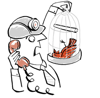 Illustration of a miner holding bird cage with a dead canary - humorous line drawing by Michel Streich