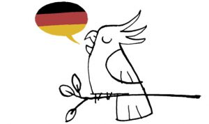 Cockatoo speaking German illustration Streich