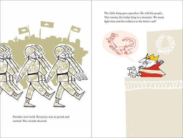 illustration Grumpy Little King gives a fiery speech