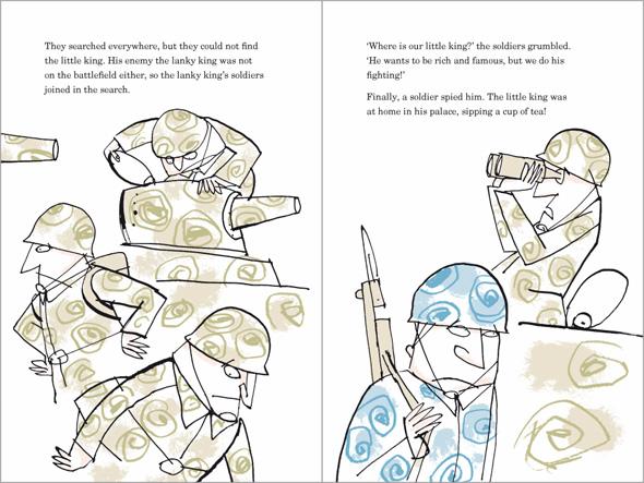 illustration Grumpy Little King's men are searching