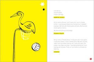 illustration brolga sitting in netball basket