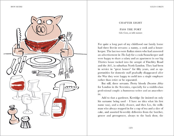illustration pig eating at table