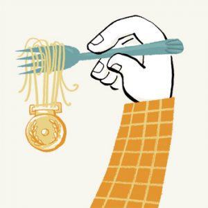 Illustration of a hand holding a fork with spaghetti whcih has a medal attached to it - humorous line drawing by Michel Streich