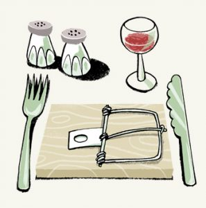 Illustration of a table setting with salt and papper, cutlery, a glass of wine and a rat trap instead of a plate - humorous line drawing by Michel Streich
