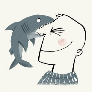 illustration of a Greenland shark biting the nose of a smiling young man