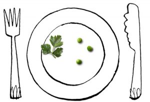 Illustration of cutlery and a plate with three peas - humorous line drawing by Michel Streich