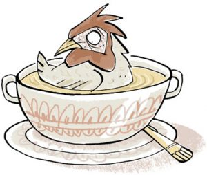 illustration of a chicken sitting in a soup bowl - humorous line drawing by Michel Streich
