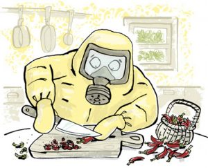 Illustration of a person ina hazmat suit, chopping chilies with a knife - humorous line drawing by Michel Streich