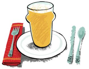 Illustration of a pint of beer on a plate with cutlery and napkin - humorous line drawing by Michel Streich