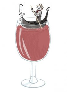 Illustration of a Venetian gondola bobbing in a glass of red wine - humorous line drawing by Michel Streich