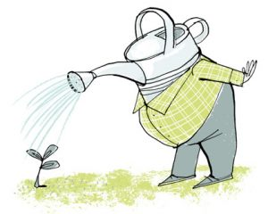 Illustration of a gardener with a watering can as a head - humorous line drawing by Michel Streich