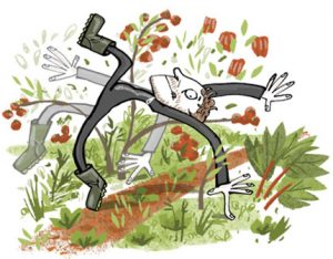 Illustration of a man in a Mission Impossible burglar outfit, moving acrobatically through a garden - humorous line drawing by Michel Streich
