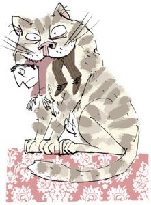 Illustration of a cat with a small human in its mouth - humorous line drawing by Michel Streich