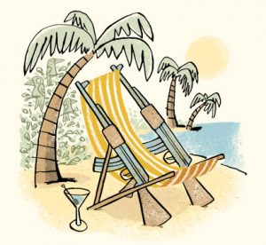 Illustration of a sun chair made out of old guns, sitting on a beach - humorous line drawing by Michel Streich