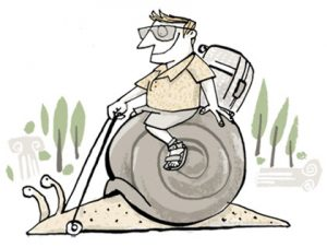 illustration of a tourist in shorts riding a giant snail - humorous line drawing by Michel Streich