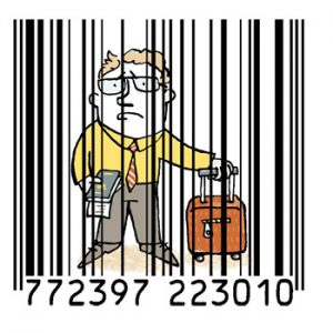 Illustration of a traveller caged in a bar code