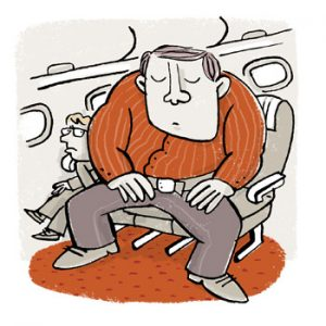 Illustration of a large, muscular man in an aeroplane seat, squashing another passenger - humorous line drawing by Michel Streich