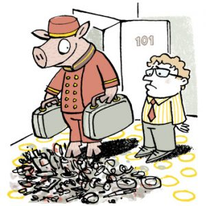 Illustration of a pig in hotel porter's uniform putting down suitcases in a patch of rubbish - humorous line drawing by Michel Streich