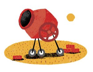 Illustration of a cement mixer