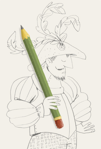Illustration of a Renaissance mercenary holding a pencil as a lance - humorous line drawing by Michel Streich