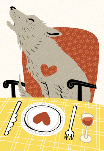 Illustration of a howling wolf sitting on an armchair in front of dinner - humorous line drawing by Michel Streich