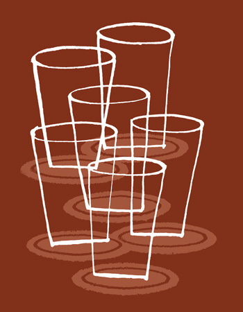 Illustration of six pint glasses on coasters - humorous line drawing by Michel Streich