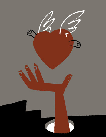 Illustration of a figure lying down, a heart with wings flying towards it - humorous line drawing by Michel Streich