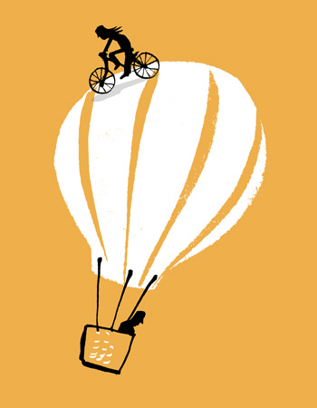 Illustration of a hot air balloon with a cyclist riding on top of the balloon - humorous line drawing by Michel Streich