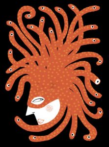 Illustration of a Medusa party hat and mask - humorous line drawing by Michel Streich