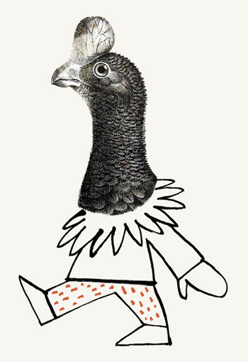 Collage of a chicken suit - humorous line drawing illustration by Michel Streich