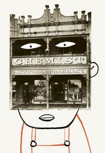 Collage of a man with the face of an antique photo of a chemist store in Katoomba - humorous line drawing illustration by Michel Streich