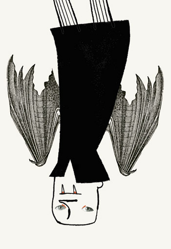 Vampire collage using antique print of bat wings - humorous line drawing illustration by Michel Streich